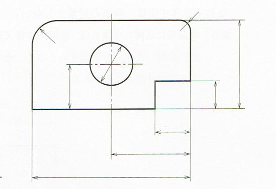 寸法補助線の記入例(JIS B 0001 2010)