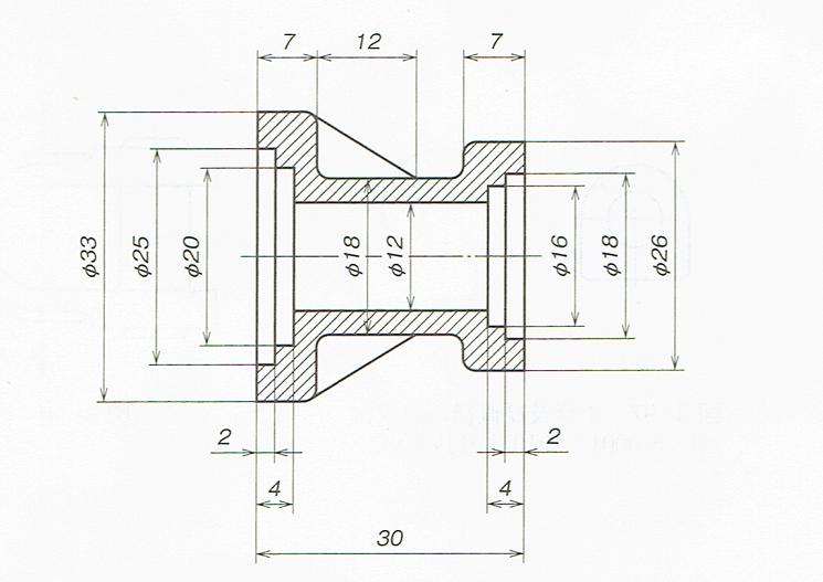 工程ごとに寸法を配列する例(JISB00012010)
