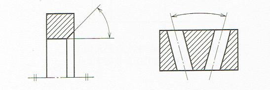 角度寸法の記入例1 (JIS B 0001 2010)