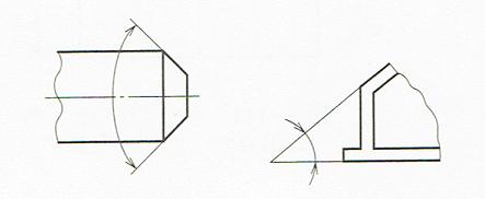 角度寸法の記入例2 (JIS B 0001 2010)
