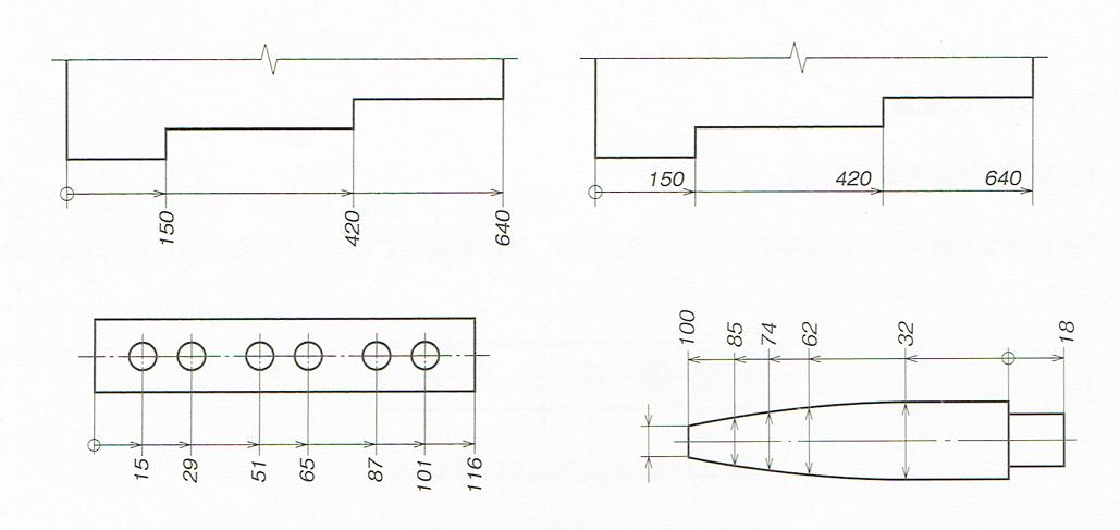 累進寸法記入寸法の記入例(JIS B 0001 2010)