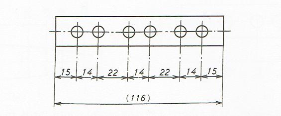 直列寸法の記入例(JIS B 3402 2000)