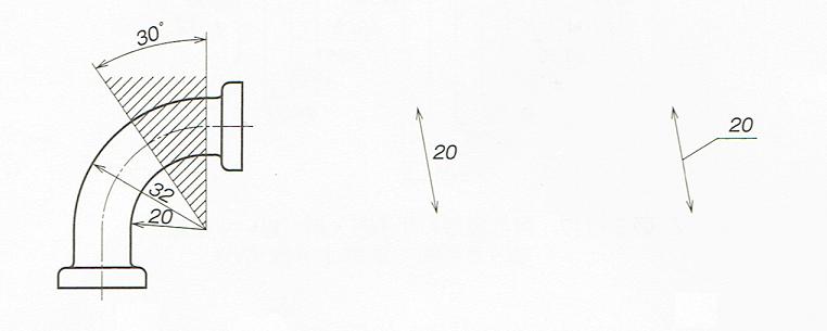 寸法数値の記入例(JIS B 0001-1 2010)