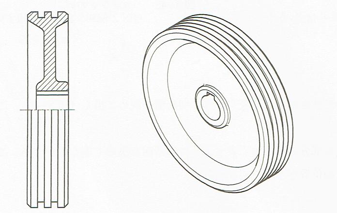 片側断面図(JIS B 00012010)
