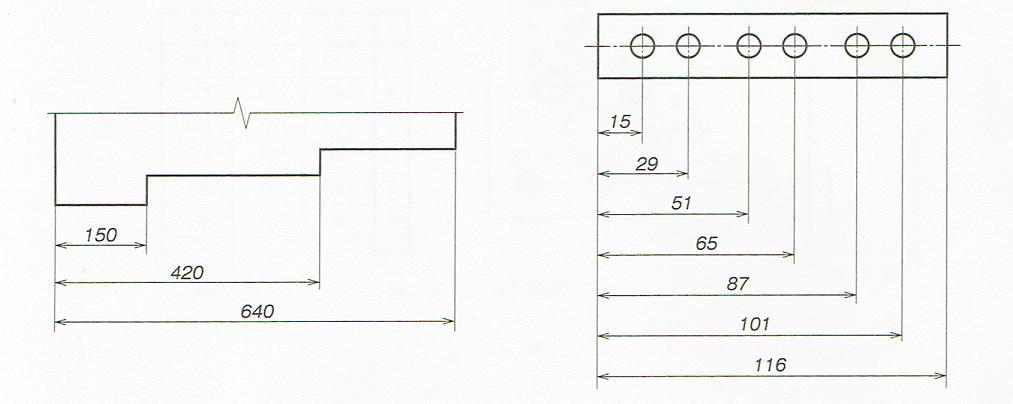並列寸法の記入例(JIS B 0001 2010)
