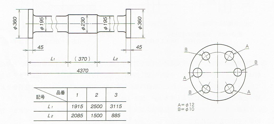 文字記号を用いた寸法の記入例(JIS B 0001 2010)