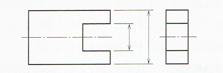 ギャップを設けた寸法補助線の例(JIS B 0001 2010)