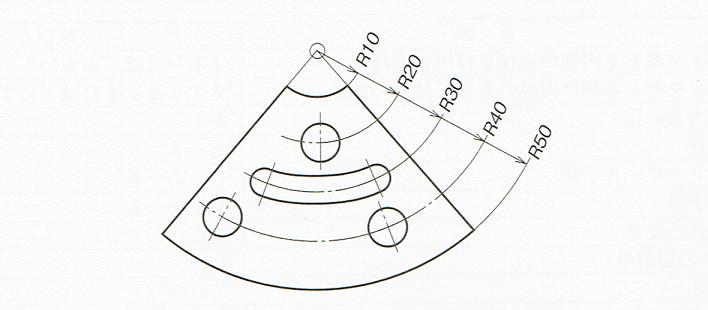 同一中心をもつ半径の記入例(JIS B 0001:2010)