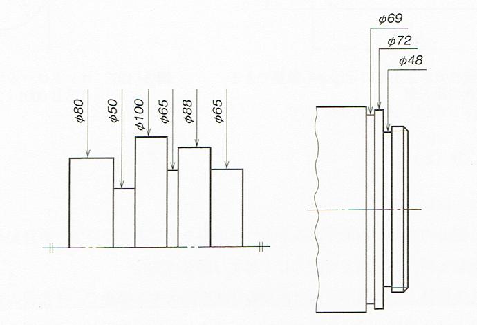 円筒部が連続する場合の直径の記入例(JIS B0001 2010)