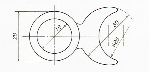 円形の図と円形の一部を欠いた図の直径の記入例(JIS B 0001 2010)