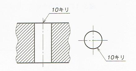 加工方法が示されている場合の直径の記入例(JIS B 0001 2010)