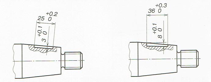 テーパ軸のキー講指示例(JIS B 0001:2010)