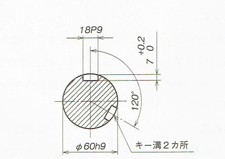 複数の同一寸法のキー溝の寸法指示例(JIS B 0001 2010)