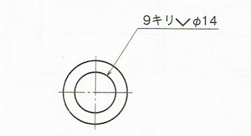 円形形状に指示する皿穴の指示例(JIS B 0001 2010)