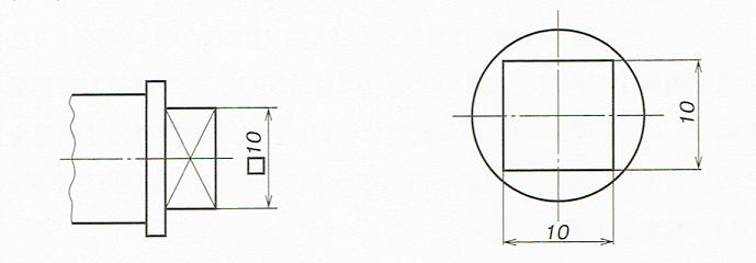 正方形を正面からみた場合(JISB00012010)