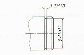 止め輪溝の寸法指示例(JIS B 0001:2010)