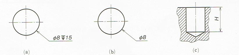 穴の深さの記入例(JIS B 0001 2010)