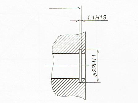 穴に対する止め輪溝の寸法指示例(JIS B 0001:2010)