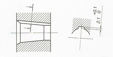 円すい穴のキー溝の指示例(JIS B 0001 2010)