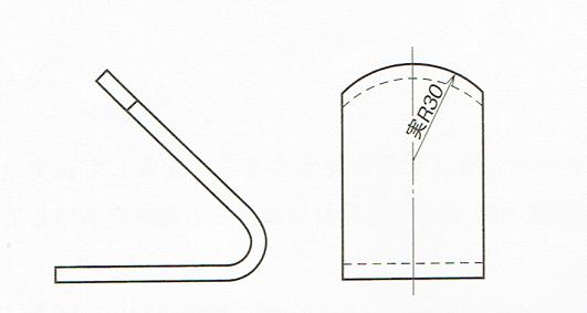 実形を示していない半径の記入例(JIS B 0001:2010)