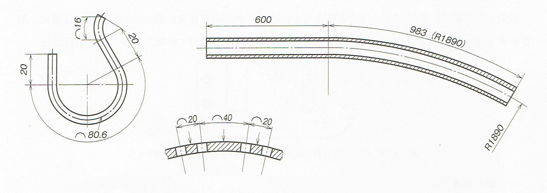 大きなサイズの円弧の寸法記入法(JIS B 0001 2010)
