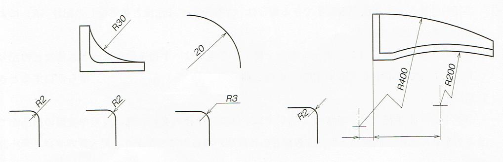 半径の記入例(JIS B 0001 2010)