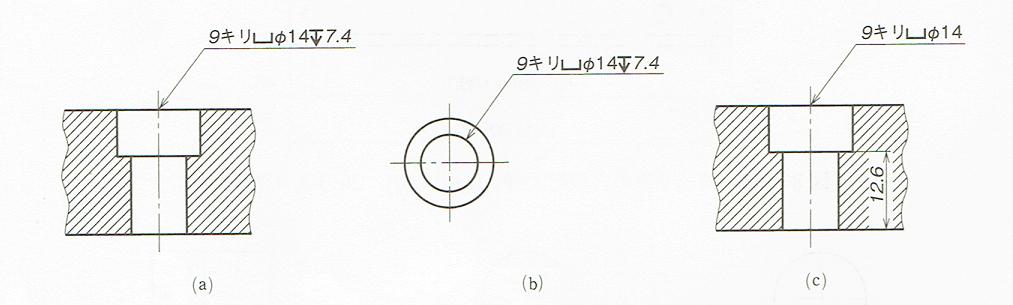 ざぐりおよび深ざぐりの表し方(JIS B 0001 2010)