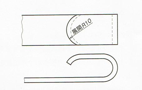 展開した状態の半径の記入例(JIS B 0001:2010)