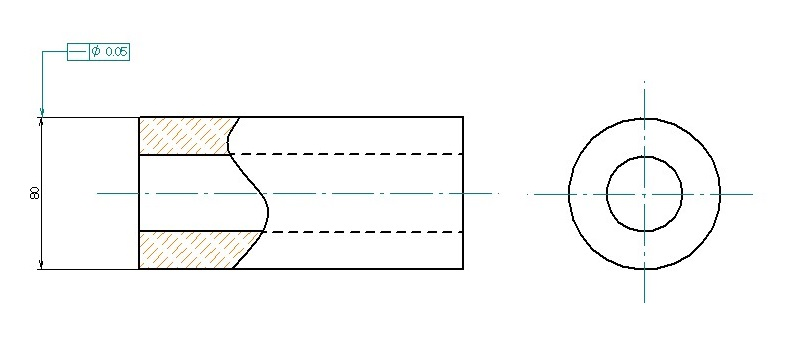 円筒軸線の表記方法