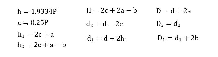 29度台形ねじ数式