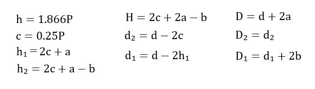 30度台形ねじ数式